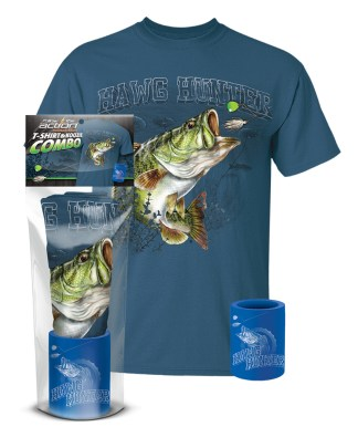 "Follow the Action- Largemouth Bass ""Hawg Hunter"" T-Shirt and Koozie® Combo Gift Set"