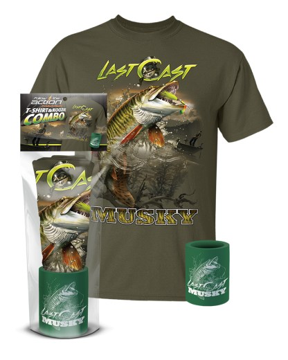 """Follow the Action - Musky """"Last Cast"""" T-Shirt and Koozie® Combo Gift Set"""