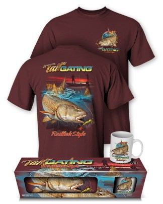 "Follow the Action- Redfish ""Tail"" Gating T-Shirt and Mug Premium Gift Set"