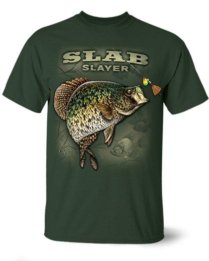 "Follow the Action- Crappie ""Slab Slayer"" One-Sided T-Shirt"