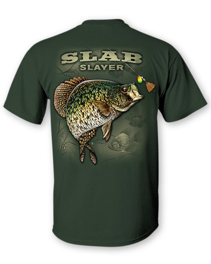 """Follow the Action - Crappie """"Slab Slayer"""" Two-Sided T-Shirt- Back"""