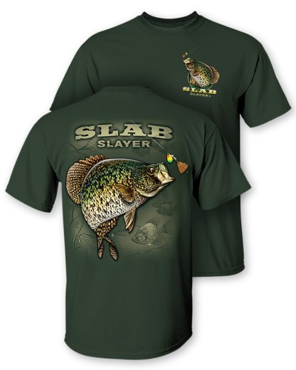 """Follow the Action - Crappie """"Slab Slayer"""" Two-Sided T-Shirt"""