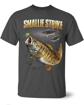 "Follow the Action- Smallmouth Bass ""Smallie Strike"" One-Sided T-Shirt"