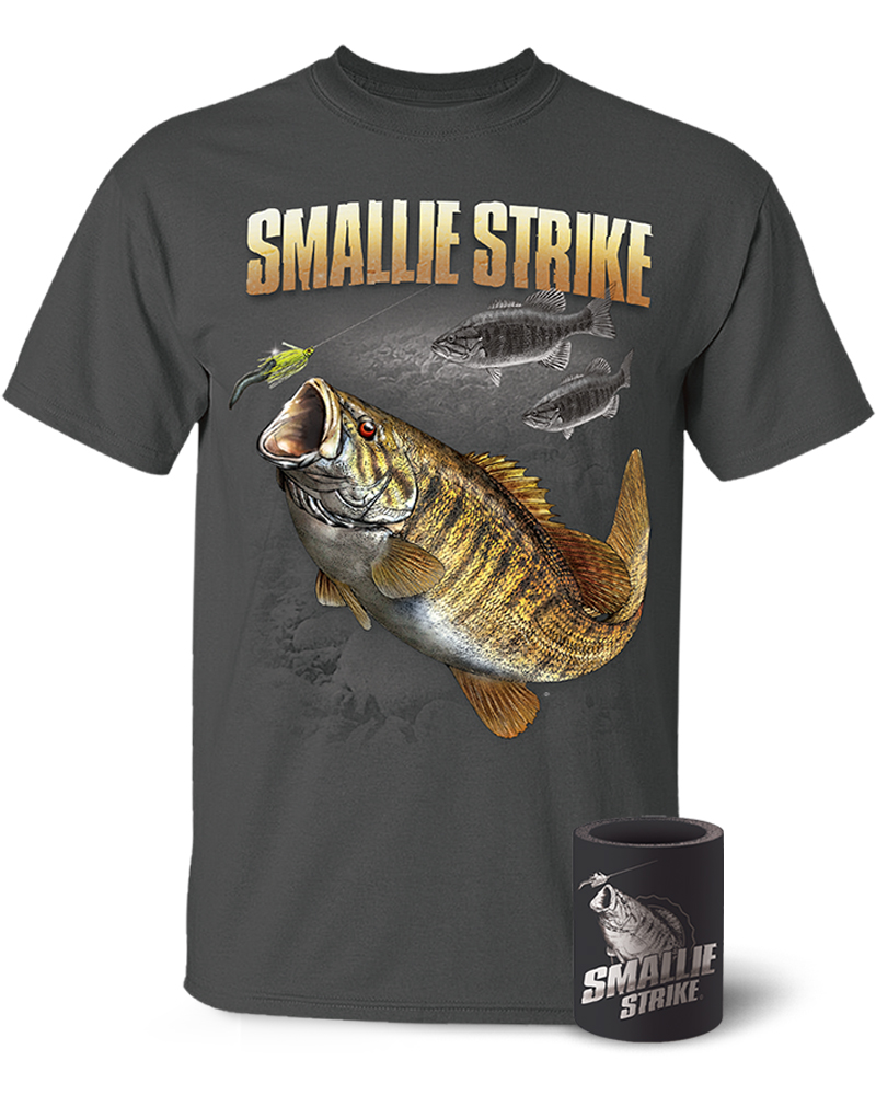 Smallmouth bass smallie strike t shirt and koozie combo for Shirts and apparel koozie