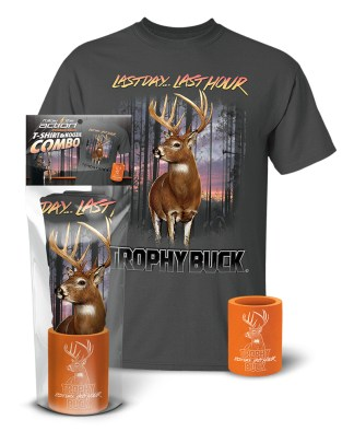 "Follow the Action - Whitetail Deer ""Trophy Buck"" T-Shirt and Koozie® Combo Gift Set"