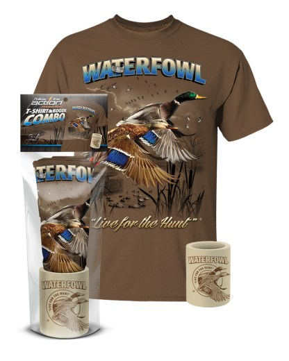 Follow the Action- Waterfowl (Duck) T-Shirt and Koozie® Combo Gift Set