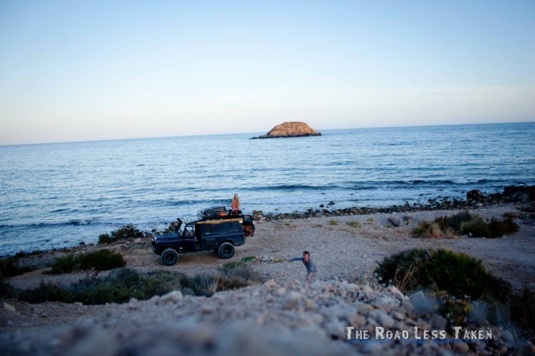 Camping on shore of mediterranean