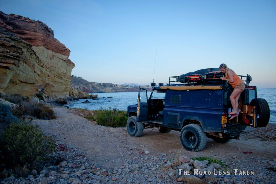 Camping in a Land Rover on a Spanish beach