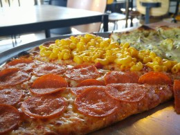 Pepperoni and mac and cheese pizza, at Maddux Pizza, in Itaewon, Seoul.