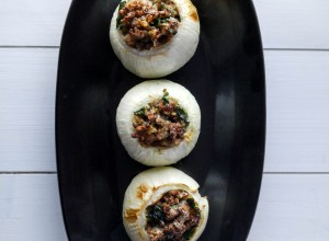 Oven-baked onions stuffed with beef, pork and spices.