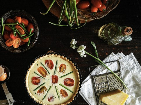 Tomato garlic scapes summer tart.