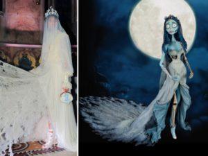 La sposa cadavere: un look della sfilata autunno inverno 2016 di Sophia Webster e una scena del film d'animazione diretto da Tim Burton. Un abito in pizzo strappato e un lungo velo.