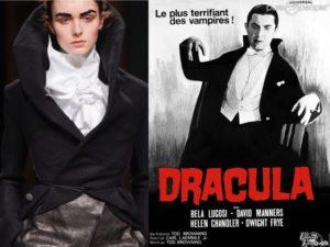 Dracula e un dettaglio della sfilata autunno inverno 2016 di Aganovich. Il bavero alzato della giacca o del cappotto.