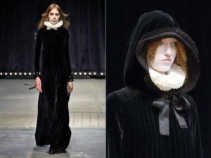 L'inquisizione: due look della sfilata autunno inverno 2016 di Veronique Branquinho. Total look in velluto nero con cappuccio, trucco pallido e gorgiera al collo da ricreare arricciando il tulle.