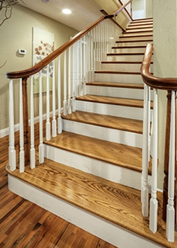Hardwood Stair Treads Folsom Stair Woodworks | Hardwood Steps For Stairs | Modern White Oak Stair | Cover | Iron Baluster | Unfinished | Staircase