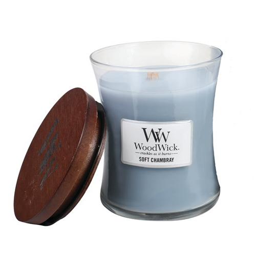 Woodwick Soft Chambray vela mediana