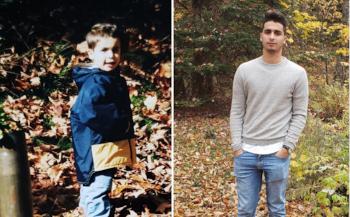 Photo de Gianluca à l'âge de deux ans et aujourd'hui