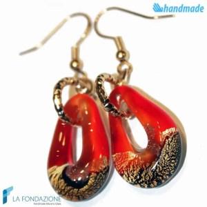Orecchini Sparkling Gold in vetro di Murano color Rosso