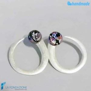 Hook earrings with pearl made in Murano glass - EARRINGSC0042