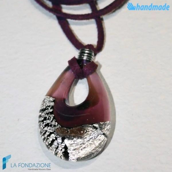 Goccia argento rotto in vetro di Murano - PEND0009