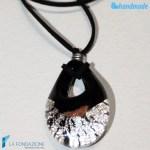 Goccia argento rotto in vetro di Murano – PEND0009