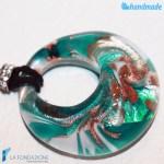 Pendente Foro Pavone Acqua in vetro di Murano - PEND0049