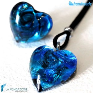 Parure Cuore Gemma con anello e pendente in vetro di Murano - PARU0017