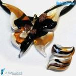 Parure Farfalla con pendente e anello in vetro di Murano – PARU0030