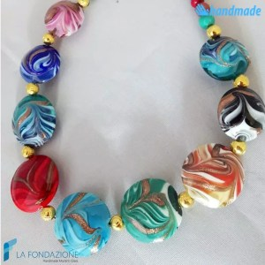 Parure Fenicio Primavera con collana e orecchini in vetro di Murano - PARU0040