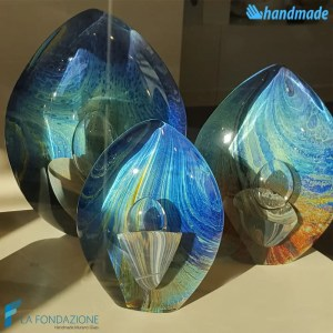 Blue Chalcedony Egg made in Murano glass - SCUL012