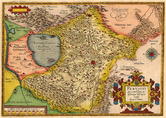 "Representation of the ""PERVSINI"" territory by Egantio Dante, 1584"