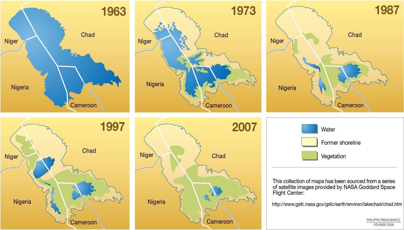 Risultati immagini per Lago Ciad prima e dopo