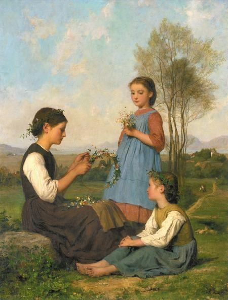 albert_anker_three_girls_braiding_hair_print