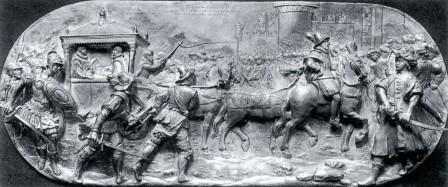 Una veduta di Galatina in una placchetta d'argento di Matthias Melin