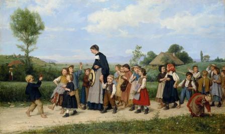Albert Anker - Passeggiata scolaresca