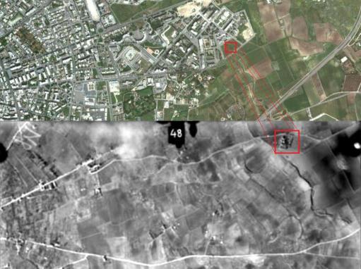 Fig. 1 – Lecce, la zona della Masseria S. Elia in una foto aerea del 1948