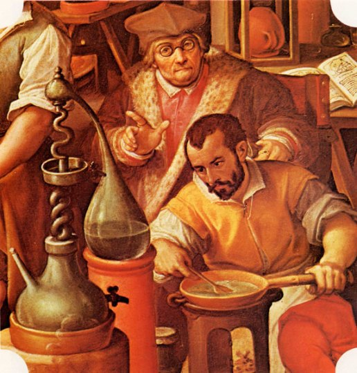 Firenze, Palazzo vecchio, Francesco I nel suo studio di alchimia (Stradano, 1570)