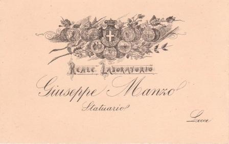 Biglietto da visita del maestro  Giuseppe manzo con l'insegna reale concessagli dal re Umberto I