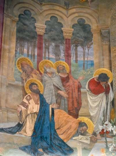 Cattedrale di Nardò, particolare degli affreschi del Maccari nel coro