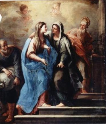 La visita della Vergine Maria a Santa Elisabetta. Particolare dalla tela di Paolo De Matteis (1662 – 1728) conservata nella residenza dei PP. Gesuiti a Grottaglie