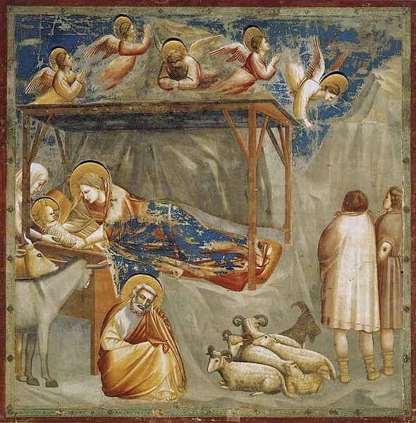 Giotto, La Natività di Gesù, Cappella degli Scrovegni, Padova immagine tratta da http://it.wikipedia.org/wiki/File:Giotto_di_Bondone_-_No._17_Scenes_from_the_Life_of_Christ_-_1._Nativity_-_Birth_of_Jesus_-_WGA09193.jpg