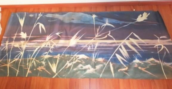 Gariga - notturno (tecnica mista su tessuto) 180 x 70