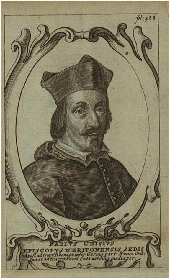 Lo stemma di Fabio Chigi, vescovo-fantasma di Nardò e poi papa, celebrato in versi
