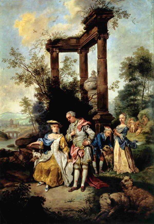 La famiglia Goethe (padre, madre e i figli Wolfang e Cornelia in un olio su tela del 1762 di Johann Conrad Seekatz conservato nel Goethe-Nationalmuseum, Weimar