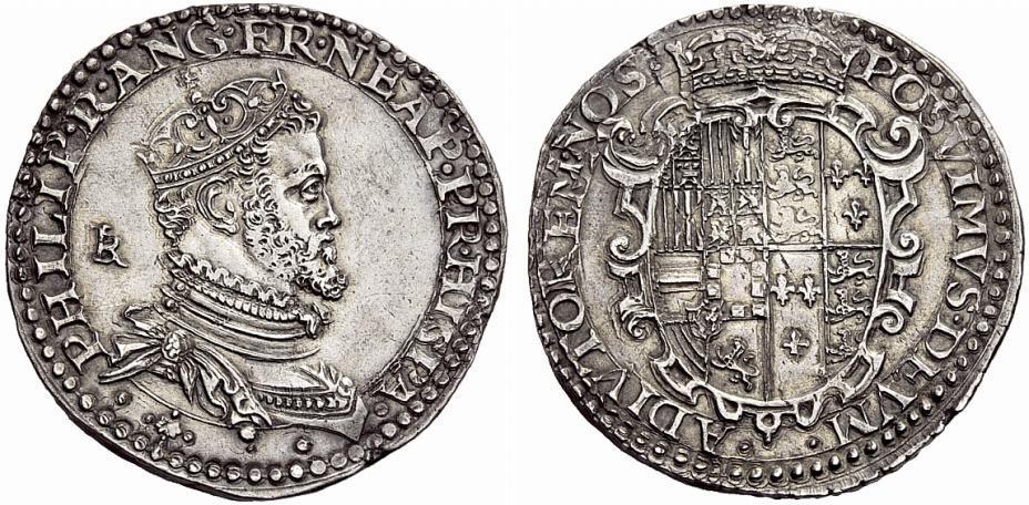 Fig. 5. Mezzo ducato d'argento di Filippo II, Napoli, 1554-1556.