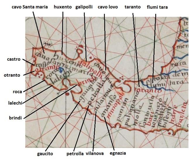 Mappa Nautica Puglia.La Terra D Otranto In Una Carta Nautica Del 1521 Fondazione Terra D Otranto