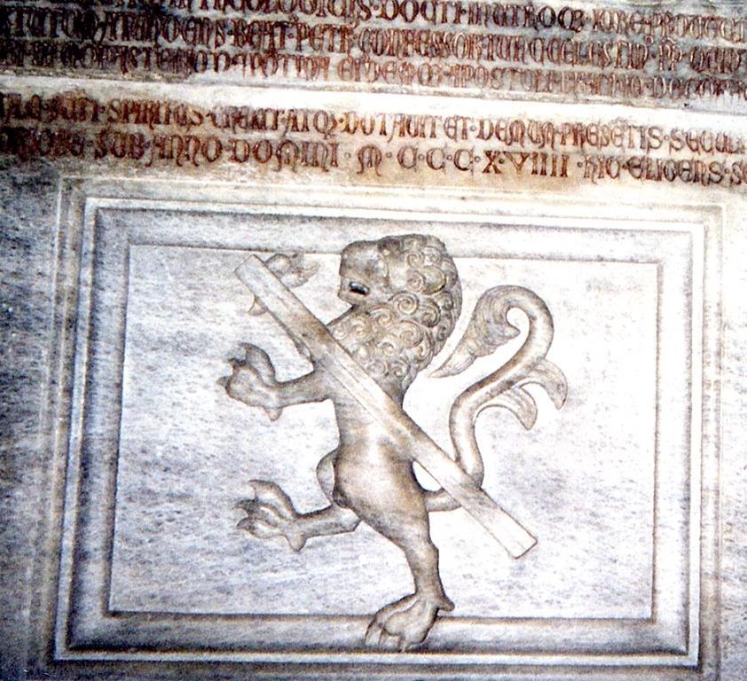Fig. 3 – Bergamo, basilica di S. Maria Maggiore, monumento funebre del cardinale Guglielmo Longhi, particolare dello stemma (foto di Alessandro Savorelli)