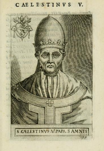 Fig. 4 – Ritratto di Celestino V accompagnato dallo stemma. G.B. Cavalieri, Pontificum romanorum effigies, Roma 1580, ad vocem
