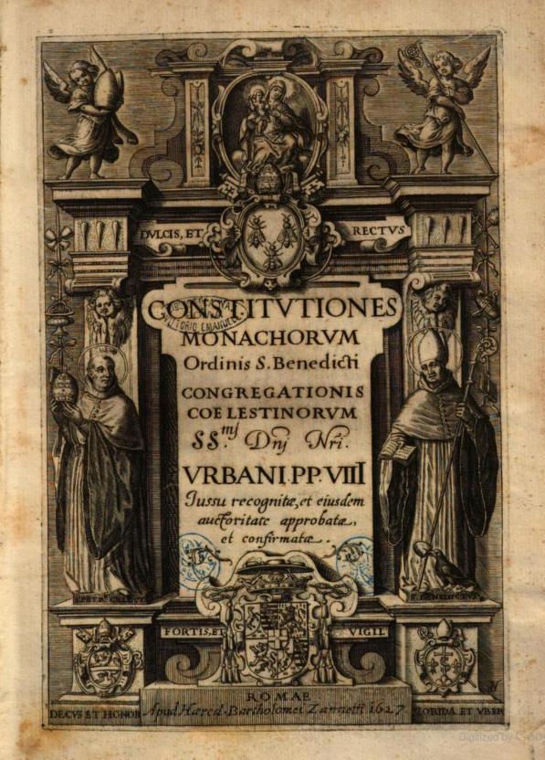 Fig. 5 – Frontespizio delle Costituzioni celestine, Roma 1627
