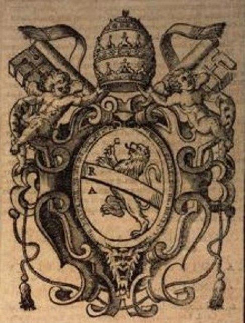 Fig. 6 – Stemma di Celestino V, tratto da A. Chacòn, Vitae et res gestae pontificum romanorum et S.R.E. cardinalium ab initio nascents ecclesiae usque ad Urbanum VIII Pont. Max., I, Roma 1630, p. 794